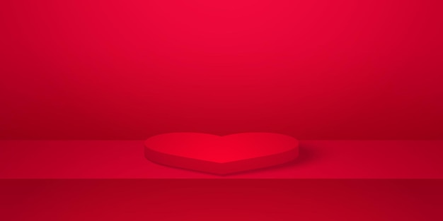 Realistic heart shape podium with red empty studio room product background mock up for valentines