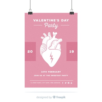 Realistic heart valentine party poster
