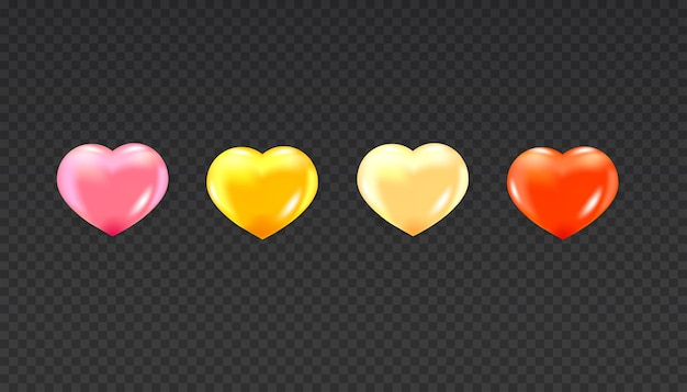 Realistic hearts set