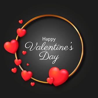 Realistic hearts valentine's day background