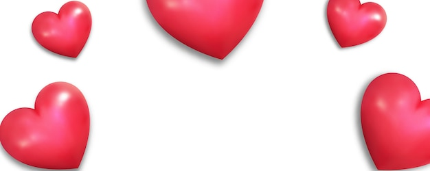 Realistic hearts on white banner background