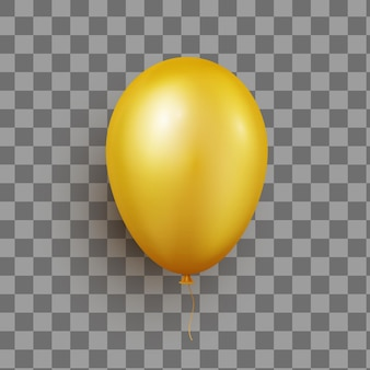 Realistic helium golden balloon isolated on transparent background