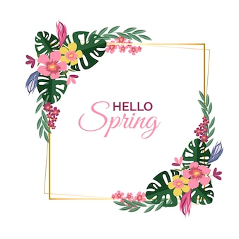 Realistic hello spring floral frame