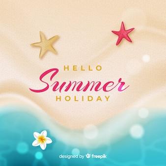 해변에서 현실적인 안녕하세요 여름 배경
