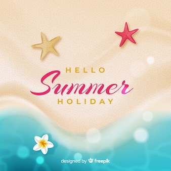 Realistic hello summer background at the beach