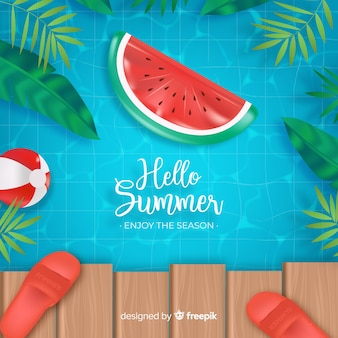 Realistic hello summer background