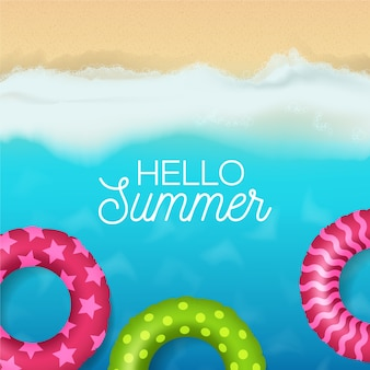 Realistic hello summer coloured floaties