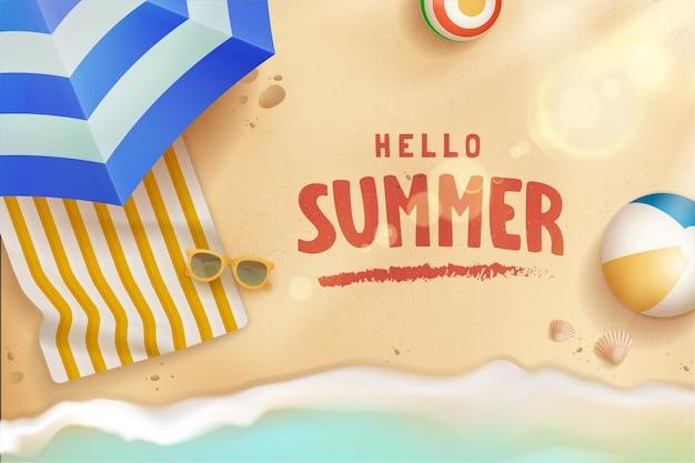 Реалистичная привет летняя концепция иллюстрации