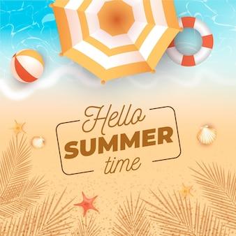 Realistic hello summer concept