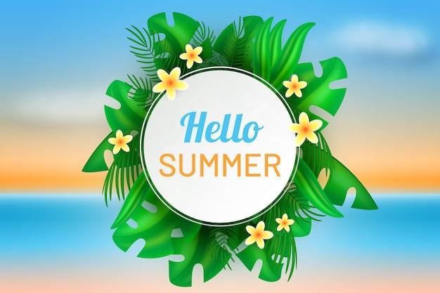 Realistic hello summer design
