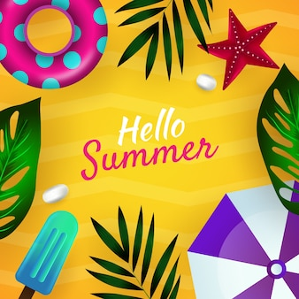 Realistic hello summer message with beach illustration
