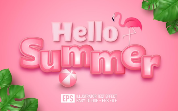 Realistic hello summer sale editable text 3d effect concept on pink