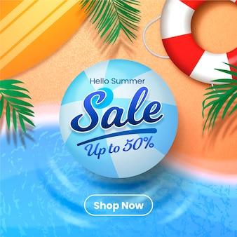 Realistic hello summer sale illustration