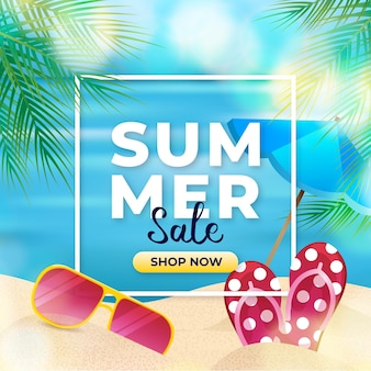 Realistic hello summer sale