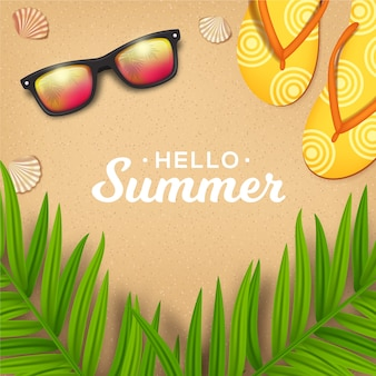 Realistic hello summer sunglasses and slippers