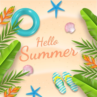 Realistic hello summer theme
