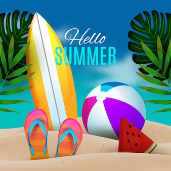 Realistic hello summer with beach illustration
