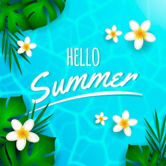 Realistic hello summer with water and flowers