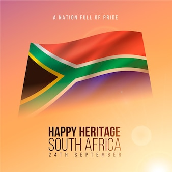 Realistic heritage day event with south africa flag
