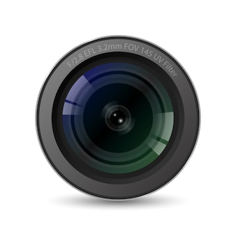 Realistic high quality camera lens with white background