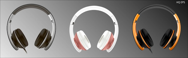 Realistic high quality headset. headphones vector