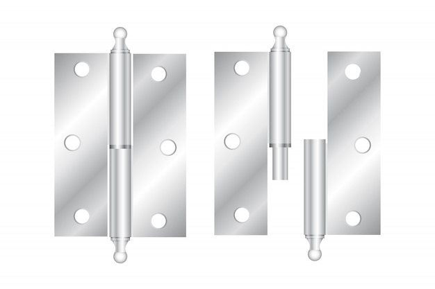 Realistic hinges stainless steel icon