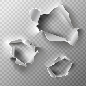 現実的な穴が紙に設定されています。