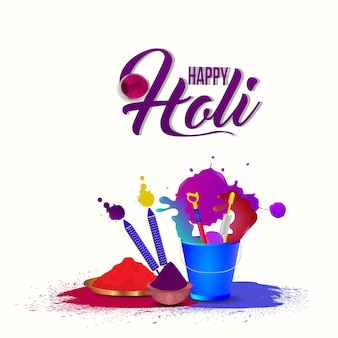 Realistic holi background with color gun and color bucket with gulal