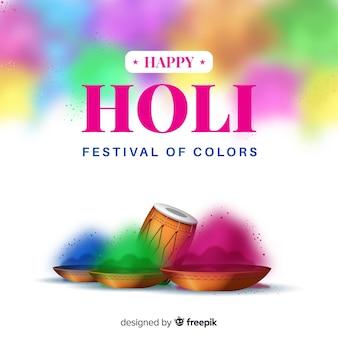Realistic holi festival background