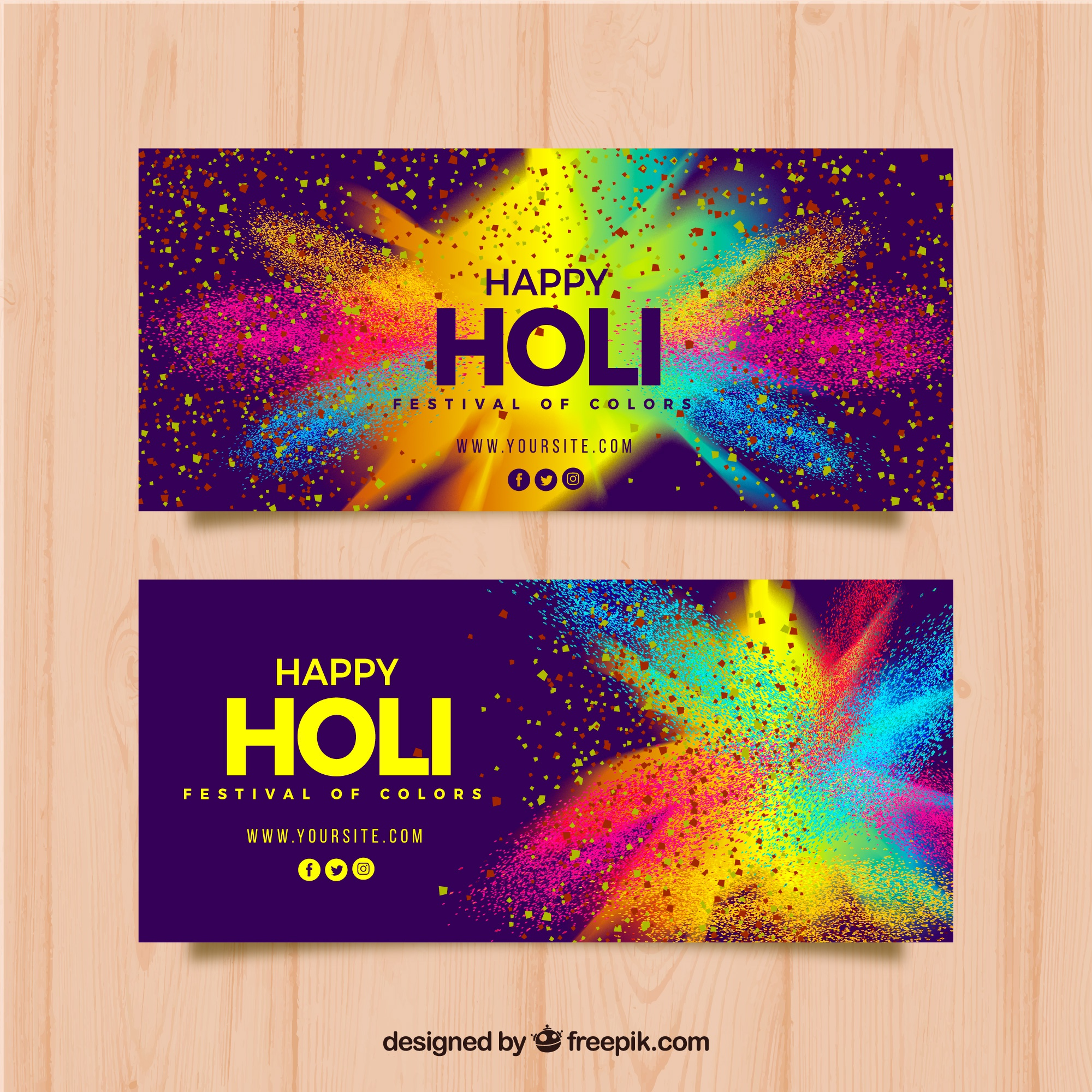Realistic holi festival banners