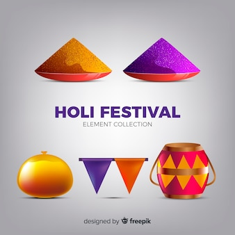 Realistic holi festival element collection
