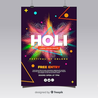 Realistic holi festival flyer template