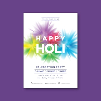 Realistic holi festival poster template