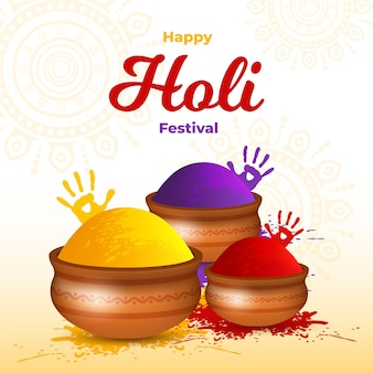 Realistic holi festival with handprints and gulal