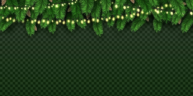 Realistic holiday decorative lights on christmas pine tree. xmas banner with bulb garland and fir branches with pine cones vector background