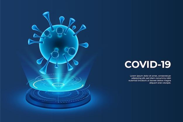 コロナウイルスの背景の現実的なホログラム