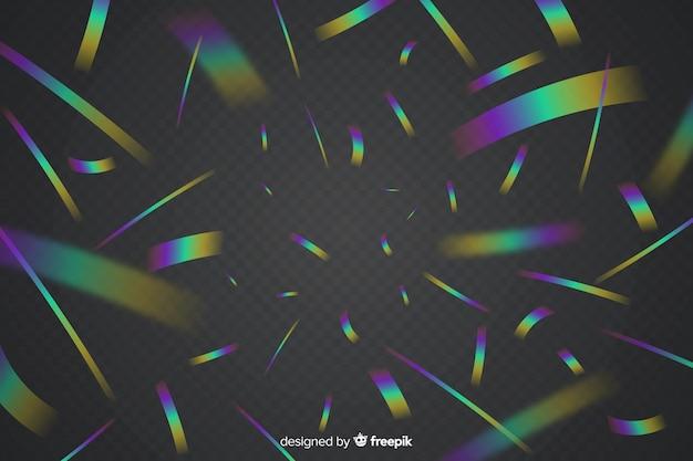 Realistic holographic confetti background