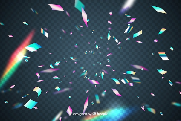 Realistic holographic confetti background