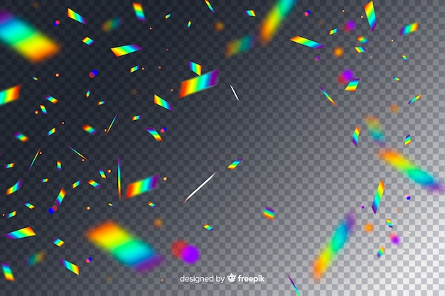 Realistic holographic confetti falling background