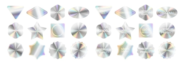 Realistic holographic stickers and official seals set. labels with quality certificate and reliability signs for official products. template vector illustration