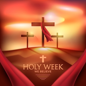 Realistic holy week concept