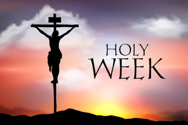 예수와 함께 현실적인 거룩한 주 십자가 프리미엄 벡터