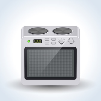 Realistic home electric oven vector illustration