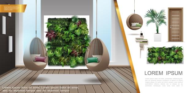 현대 매달려 고리 버들 세공 의자 장식 녹색 벽 나무로되는 문 식물 화분 선반 그림에서 현실적인 홈 인테리어 다채로운 구성