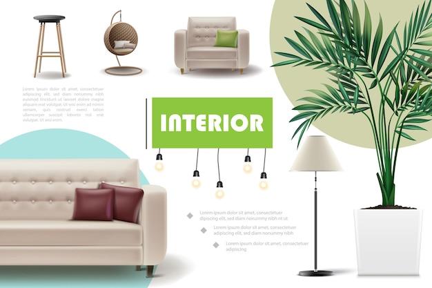 Реалистичная концепция домашнего интерьера с баром и плетеными креслами, диван, кресло, подушки, комнатное растение, лампа, иллюстрация