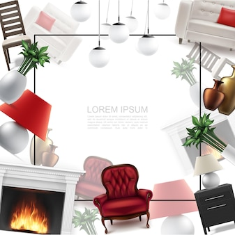 Realistic home interior template with frame for text comfortable armchair ceiling and table lamps nightstand chair flowers vases sofa fireplace