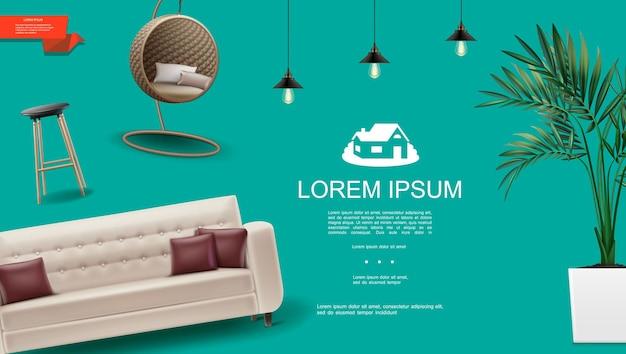Реалистичный шаблон домашнего интерьера с диваном-подушками, барной стойкой и современным плетеным подвесным стулом, лампы в горшке на зеленом фоне иллюстрации