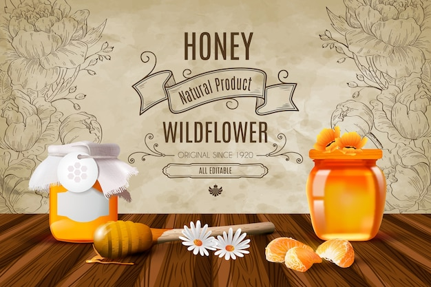 Realistic honey background with wildflowers