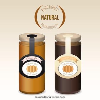 Realistic honey jars