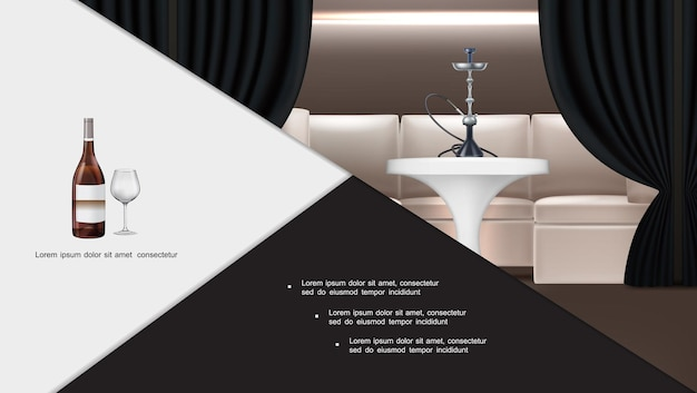 Realistico narghilè lounge bar composizione interna con shisha in piedi sul tavolo divano tende scure bottiglia di vino e bicchiere di vino